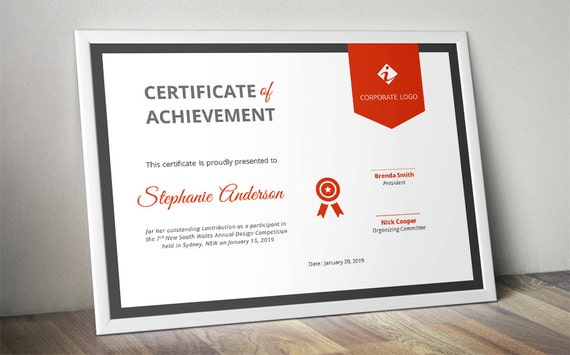 corporate ribbon certificate template for ms word docx