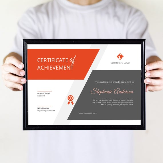 Big Bar Corporate Business Certificate Template For Ms Word Etsy