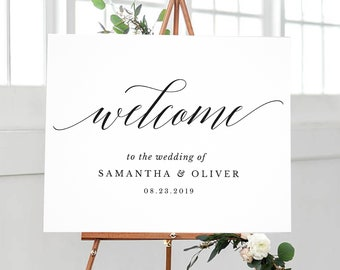 Editable black typography wedding welcome poster size, 4 sizes included, 20x16 inches, 24x18 inches, 30x20 inches, 36x24 inches, BDWel-03