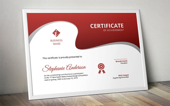 Modern curve corporate business certificate template for ms etsy image 0 friedricerecipe Image collections