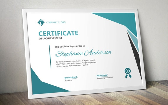 Modern corporate business certificate template for ms word etsy image 0 wajeb Image collections