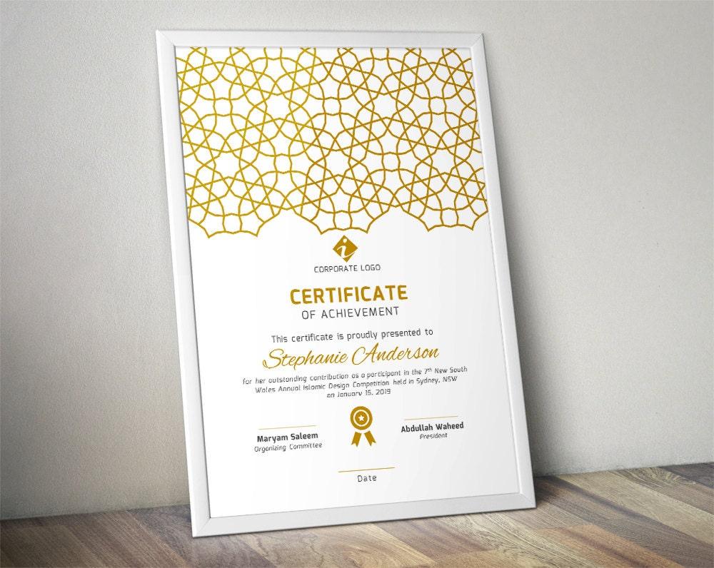 Islamische corporate Zertifikat-Vorlage für MS Word Docx