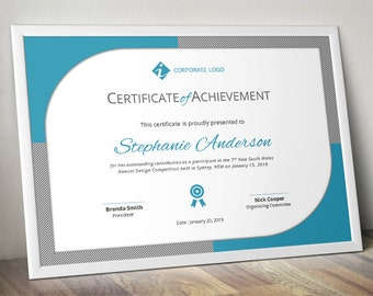Certificate template etsy curved border corporate business certificate template accmission Images