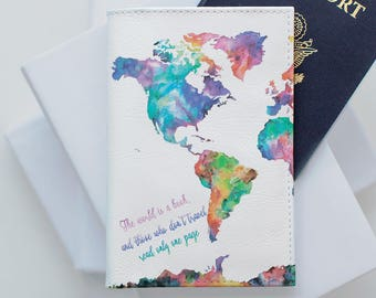 World map wallet etsy colorful map passport custom free design hello world passport holder passport leather cover passport case wallet gumiabroncs Image collections