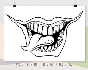 Teeth SVG Logo Scary Printable Image Svg Tongue Svg zip Cricut cut File svg jpg png dxf JPG AI formats to download CL6408