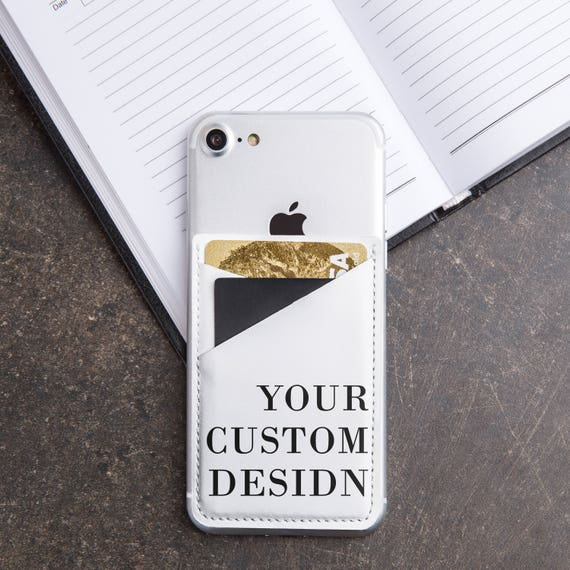 Custom Phone Pocket Personalized Leather Pocket Credit Card Holder iPhone  Pocket Phone Accessorie Sticker Pocket Leather Cover Holder CL1000