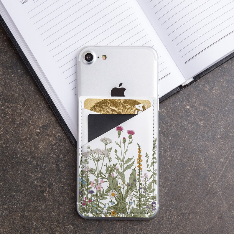 huge discount 15d79 649ef Floral IPhone Leather Pocket Samsung S10 S9 Card Holder Travel Gift Nature  Print Spring Summer Accessories Phone Sticker Pixel 3 CL6233
