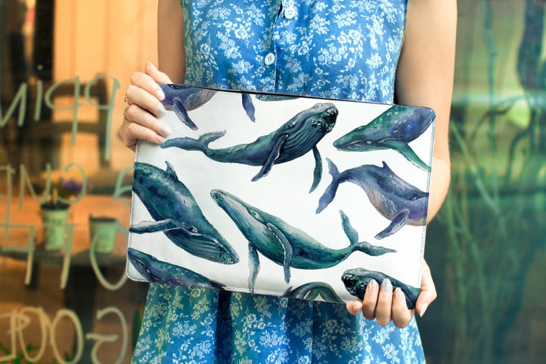 Whale Leather laptop sleeve Macbook leather case 13 Pro Custom laptop case 15 Pro Macbook Case Personalized Gift Laptop case Macbook CL2002