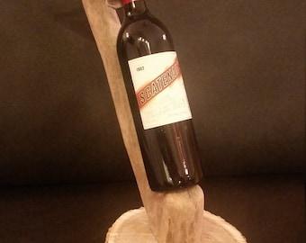 Driftwood wine holder with oak base