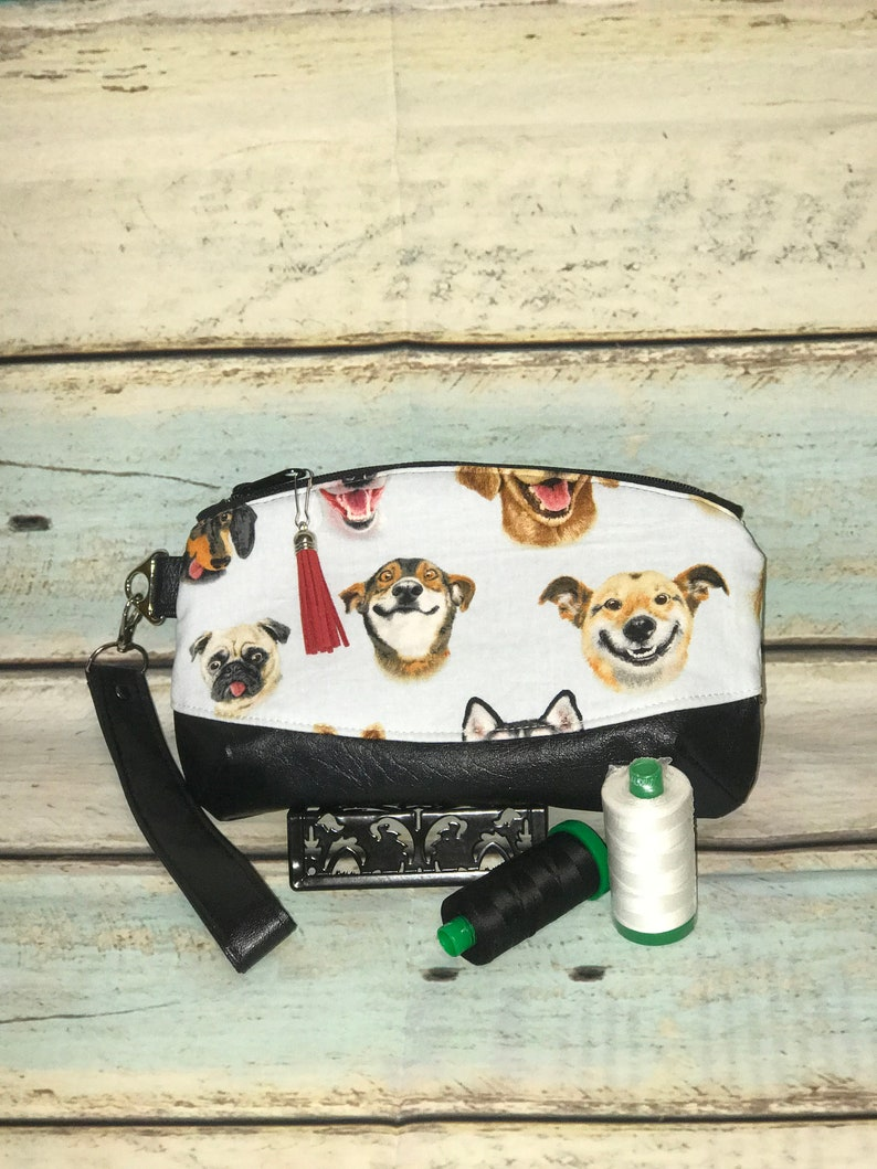 Dog Selfies Clematis Pouch Wristlet with Vegan Leather