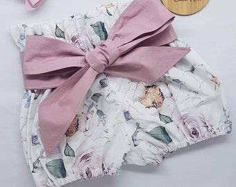 Girls Floral Paperbag Waist shorts with sash, paperbag waist, shorts, floral, girls shorts, bloomers