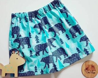 Shorts, Boys Shorts, Girls shorts, Baby pants, size 00, size 1, size 2, size 4, Polar Bear