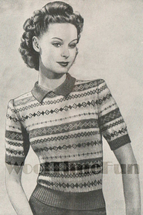 Vintage Knitting Pattern 1940s Lady/'s Fair Isle Jumper//Sweater.