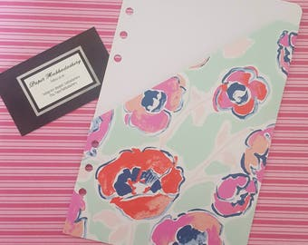 A5 or Personal Size Pocket Folder Inserts in Spring Floral