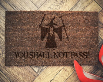 "Gandalf doormat coconut "" You Shall Not Pass"""