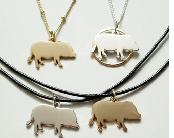 Mini Pig Necklace or Charm