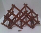 Vintage Wooden Quality Teak Wood Folding Wine Rack, Bottle Holder, Made in Thailand, Quality 6 Bottle Rack Holder, Table Decor, Counter