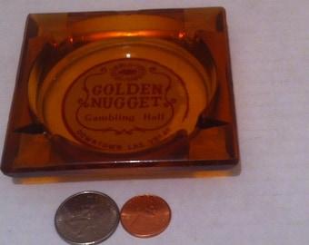 Vintage Glass Ashtray, Golden Nugget Gambling Hall, Las Vegas,  Smoking, Cigarettes, Cigars, Tobacco, Home Decor, Shelf Display, Smoking