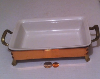 Vintage Copper and Ceramic Warming Dish, Chaffing Tray, Serving Tray, Snack Tray, 9 x 6, Kitchen Decor