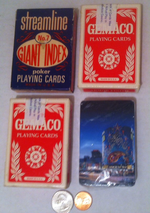4 vintages paquets de cartes à jouer, Poker, Stud à 5 cartes, 21, rationaliser, Bally de Casino, plus.  Un paquet jamais ouvert encore.  Bon état