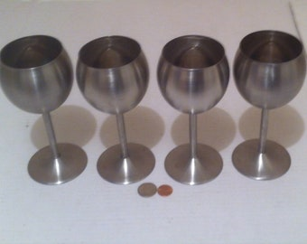 Vintage Set of 4 Metal Goblets, Cups, Mugs, Glasses, Stainless Steel, Shelf Display, Kitchen Decor, Drinking Cups, Barware, Metal Cups