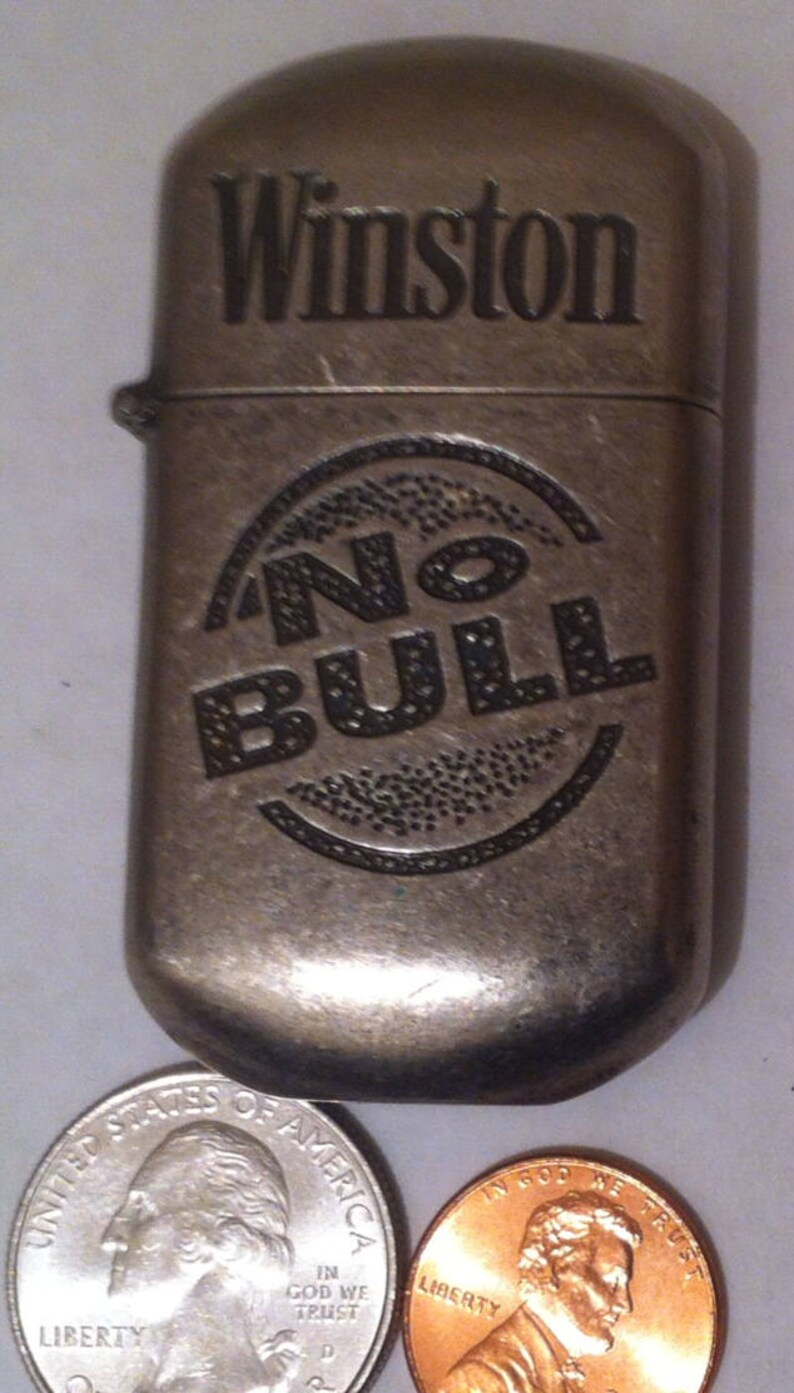 Vintage Metal Winston No Bull Cigarette Lighter, Metal Chrome Lighter,  Shelf Display, Home Decor, Advertisement, Cigar, Smoke, Chrome
