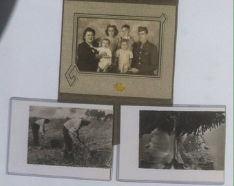 Lot of 5 Vintage Black and White Photographs, Christmas Family Postcard, Quality Made, Old Time Photos, Harvesting, Photography History