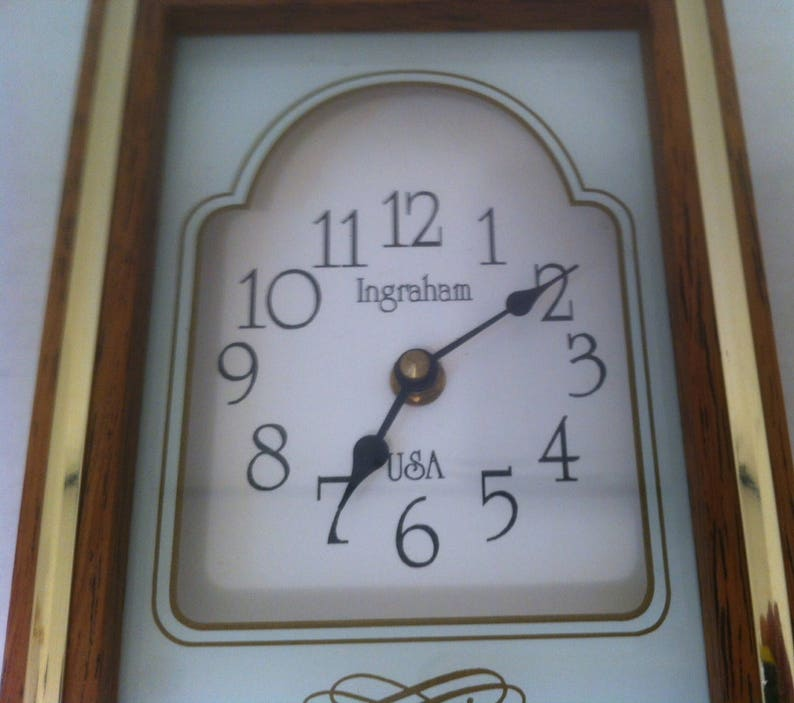 Vintage Wall Clock Made In Usa Wood Glass 13 X 5 X 2 Etsy