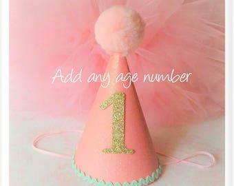 Pink gold and mint Birthday Hat,Baby Girl Birthday Hat,Mint Birthday Hat,Pink pom pom,Birthday Celebration