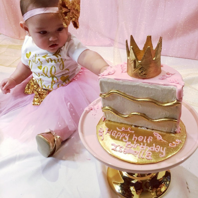 Pink and Gold Half Birthday tutu outfit,12 birthday outfit,half birthday outfit,pink birthday tutu,pink tutu,girl birthday outfit