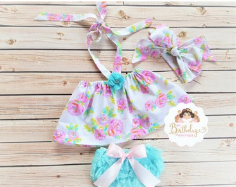 Floral Flutter Tops,Top,Lace bloomer,Headwrap Set,baby tops,girls tops,off the shoulder tops,Flutter baby tops,tops,flutter girls tops
