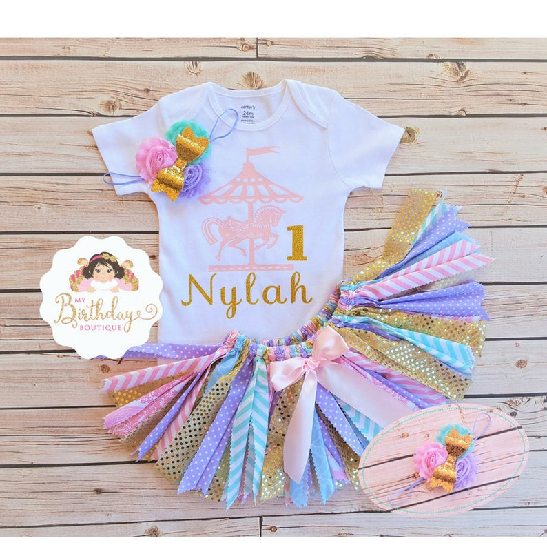 Pink Silver Birthday Glitter Number 1 Tutu Dress 12 18 3T  1st First Age Custom