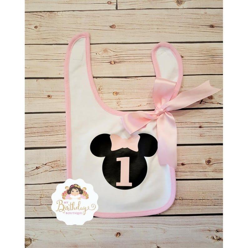 Minnie mouse inspired baby bib,1st birthday minnie mouse inspired bib,First Birthday Bib,Pink and black,cake smash