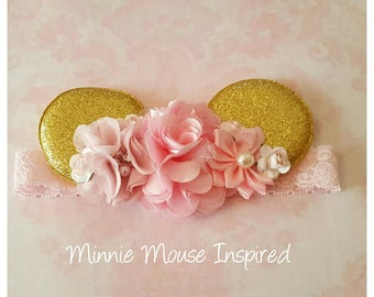 Pink and Gold Minnie Mouse Ears Headband,Minnie Ears,Minnie Headband,Girls Minnie Mouse headband,Baby Headband,Mickey Mouse,Disney Vacation