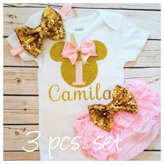 Minnie Mouse rosa und gold Outfit | Etsy
