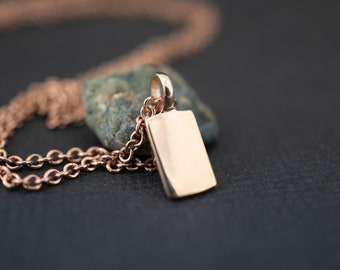 Tag necklace 14k gold - Rectangle pendant gold necklace- Solid gold tag necklace- Rectangular pendant necklace- 14k solid rose gold necklace