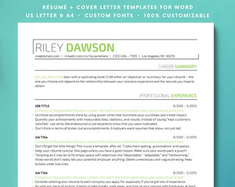resume minimal resume template for word customize instant etsy