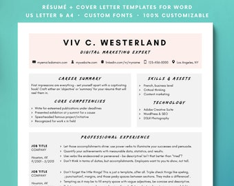 Resume Minimalist CV Creative Professional Instant Download For Word Colorful Modern Template