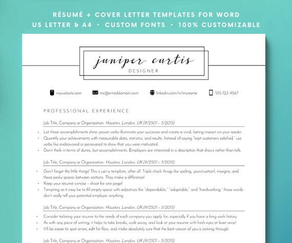 chic minimalist resume modern resume template for word clean etsy