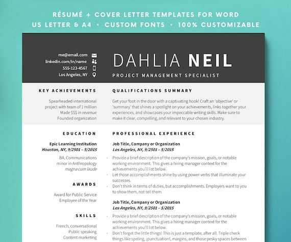 Resume Template Instant Download Resume Gradient Resume Etsy