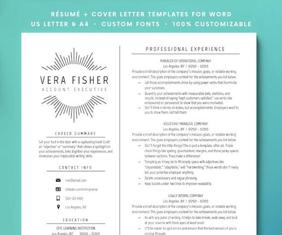 Resume Template Resume Cv Minimalist Cv Professional Etsy