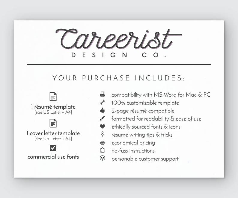 Classic Resume Template Instant Download