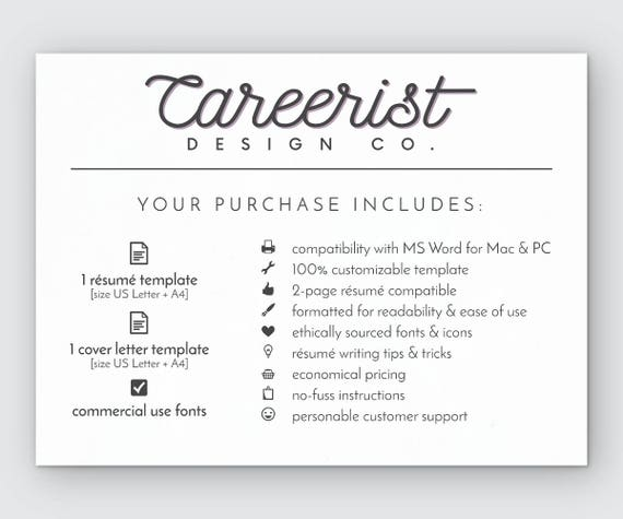 Resume Template CV Instant Download Classic Professional For Word Minimalist Clean Docx