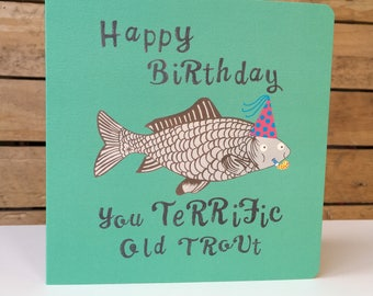 The Birthday Trout - Square Greetings Card