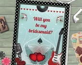 Printable Rockabilly Music Polka Dot Will You Be My Bridesmaid Thank You Greeting Card Editable PDF, Instant Download