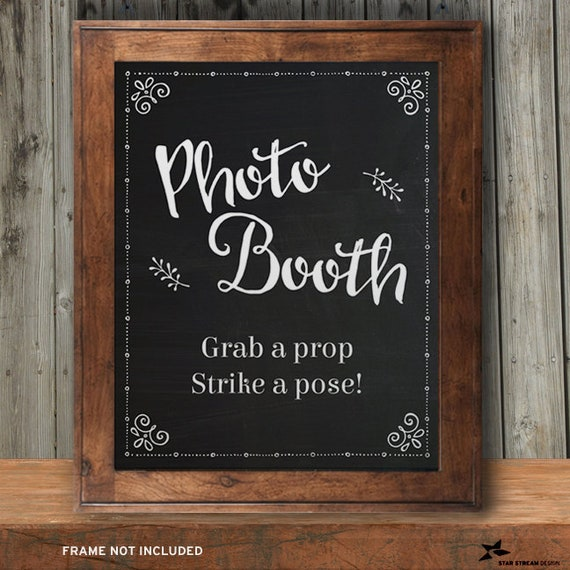 GRAB A PROP PHOTO BOOTH PERSONALISED SIGN WEDDING VINTAGE CHALKBOARD O LIP