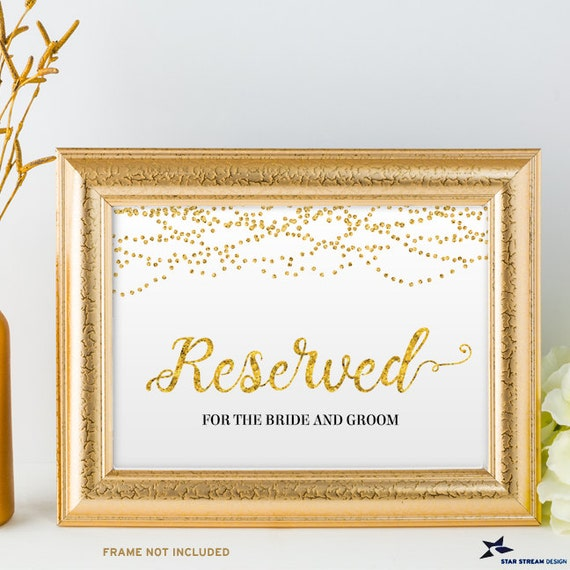 photograph about Printable Gold Foil named Printable Gold Foil Appear Reserved String Lighting Wedding ceremony or Function Indicator, 2 Measurements: 10\