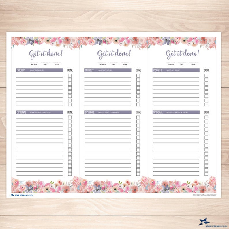 PDF Instant Download Printable Boho Watercolor Wildflowers To Do Lists 3 Lists Per Page not editable