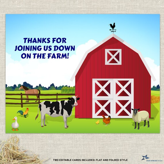 Down on the Farm Thank You Cards
