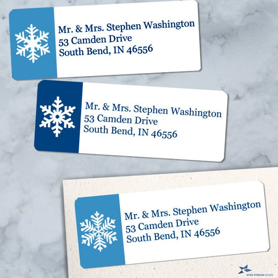 printable winter snowflakes return address labels blue and etsy